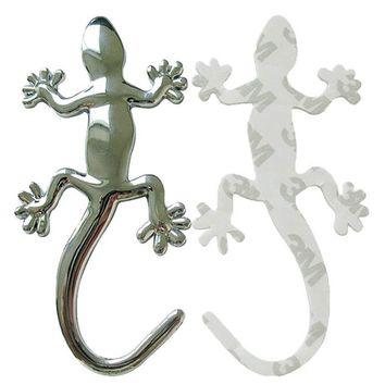 New Qualified Car Stickers 2017 Fashion Metalic Gecko Solid Truck Sticker Decor Styling Cool 3D Lizard Car Decal dig655