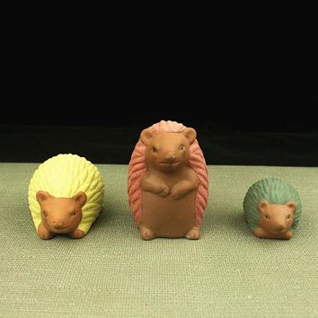 3pcs cute tea Pet hedgehogs family  ceramic ornaments Home Furnishing Gardening Decoration Handcrafts Creative Window display
