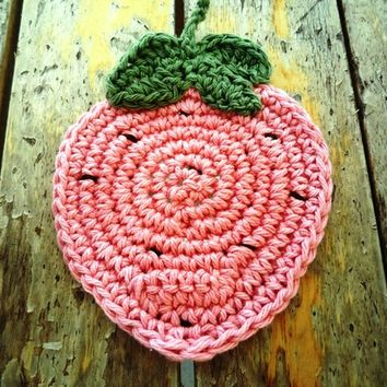 Pink  Strawberry Coasters (4 pc) Valentine's