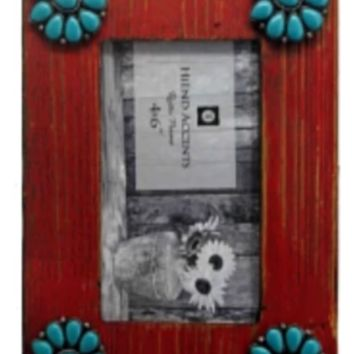 "Cowgirl Kim Red Picture Frame w/ Squash Blossoms~ 4"" X 6"""