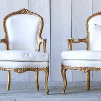 Vintage Louis XV French Style Armchairs Upholstered Pair