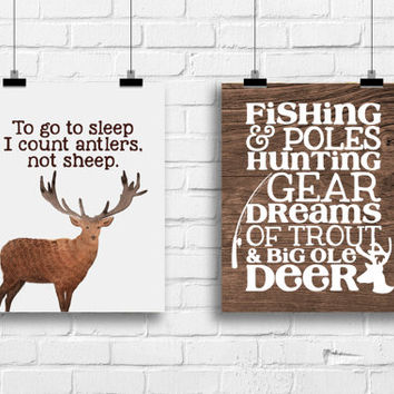Rustic country nursery decor, I count antlers not sheep, fishing poles and hunting gear, watercolour deer print, nursery decor, A-2007