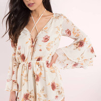 Melody Plunging Floral Print Romper