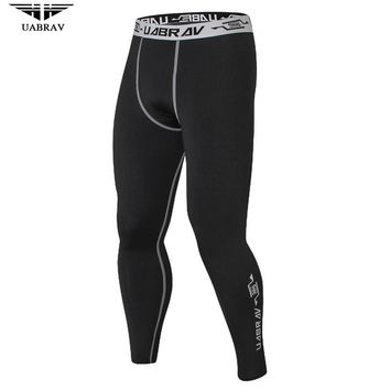 UABRAV Men Sport Pants Hot Fitness And Crossfit Skinny Pants Black Running Pants Jogger Sportswear Compression Sweatpants