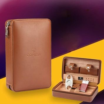 COHIBA  Leather Cedar Lined Travel Cigar Case Mini Humidor Box Cigar Holder With Cutter Lighter Humidifier Set