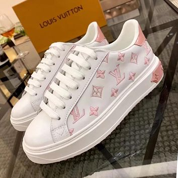 LV Louis Vuitton Newest Popular Woman Casual Leather Shoes Flats Sneakers White/Pink