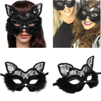 Luxury Venetian Masquerade Cat Mask With Black Lace, Crystals & Fur