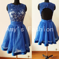 Royal Blue Short Prom Dress 2014,Bridesmaid Dress, Evening Dress Cocktail Dress With Beaded Lace Applique,Short Open Back Prom Dress 2014