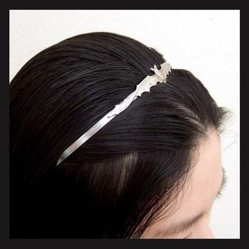 VICTORIAN VAMPIRE BAT, silver metal headband with antiqued silver plated bat on top