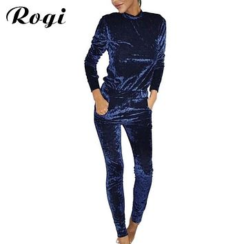 Rogi Velvet Women Sets 2017 Fashion Long Sleeve Bodycon Slim Sweat Suits Hoodies Tracksuit Sweatshirt Two Piece Trousers Women