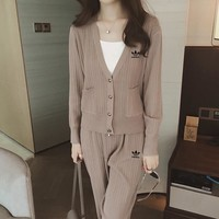 """Adidas"" Women Casual Fashion Long Sleeve V-Neck Cardigan Trousers Set Two-Piece Sportswear"