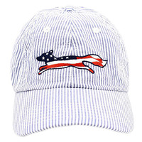 Country Club Prep: Patriotic Longshanks Logo Hat in Blue Seersucker by Country Club Prep