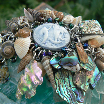 SALE mermaid bracelet resort wear abalone bracelet seashells mermaid cameo cruise wear beach wear  resort wear  high fashion gypsy boho