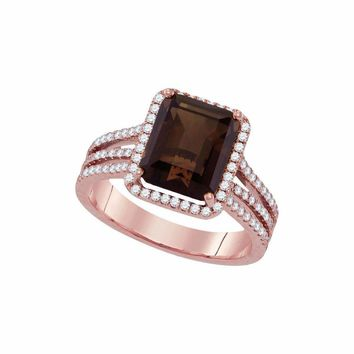 14kt Rose Gold Women's Emerald-cut Smoky Quartz Diamond Solitaire Ring 3-3/4 Cttw - FREE Shipping (US/CAN)