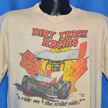 80s  Dirt Track Racing LJ's Speed & Machine Napa Tan t-shirt Extra-Large