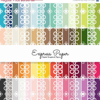 SALE 64 Clover Pattern Digital Papers- 12x12 and 8.5x11 included- Digital Paper Rainbow includes dark, bright, neutral and pastel colors.