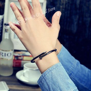 2017 Screw Nail Cuff Bracelets&Bangles Female Titanium Stainless Steel Silver Color Black Love Bangle Bracelet Jewelry Pulseras