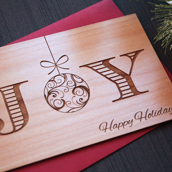 Joy Christmas Card - Unique Xmas Cards - Wood Cards