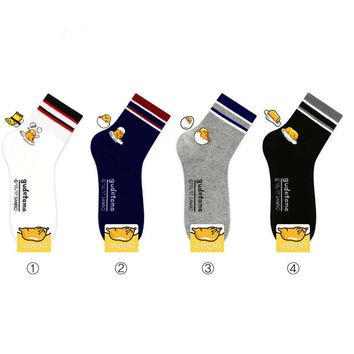 Striped Cartoon Gudetama socks fashion personality cute funny socquettes femmes fantaisie autumn winter black College wind sock