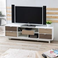 Modern 70-inch White TV Stand Entertainment Center with Natural Wood Accents