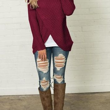 Red Studded Irregular Cowl Neck Long Sleeve Fashion Pullover Sweater