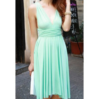 Light Green Sleeveless Chiffon Mini Dress