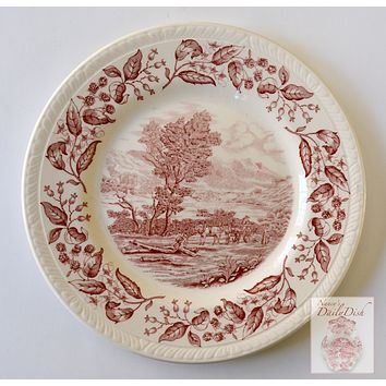 Vintage Red Transferware Plate The Woodcutter Horse & Cart w/ Blackberry Border