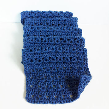 Blue Scarf, Crochet Scarf, Womens, Mens, Unisex Scarf, Handmade, Super Soft, Goes With Jeans, Blue Knit Scarf
