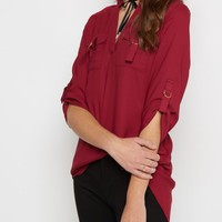 Burgundy D-Ring Pocket Tunic Shirt | Blouses | rue21