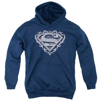Superman - Tribal Steel Shield Youth Pull Over Hoodie