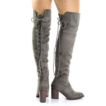 Aspen Taupe By Soda, Corset Lace Up Military Inspired Over Knee Boots w High Block Stack Heel