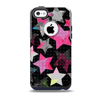 The Neon Highlighted Polka Stars On Black Skin for the iPhone 5c OtterBox Commuter Case