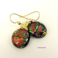 Copper Beauties Dichroic Fused Glass Dangle Earrings by Umeboshi Jewelry Designs