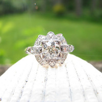 Very Fine Art Deco Platinum Diamond Engagement Ring - Fiery Old Mine Cut Diamond - Center approx .75 to .80 carats - Lovely Detail
