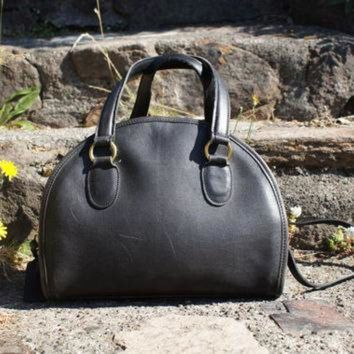 ONETOW Authentic Coach Bag Black Domed Satchel Convertible Crossbody