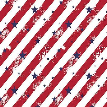 Printed Patriotic Navy Stars and Red Diagonal Stripes Background - 6937