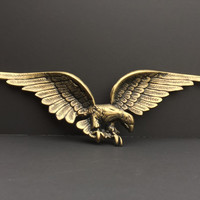 Eagle 25 inch Vintage Cast Metal Three Dimensional Brassy Finish
