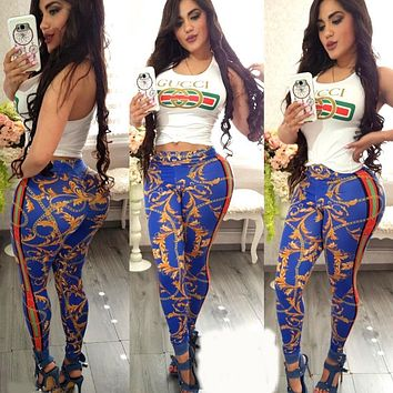 GUCCI Summer Newest Fashionable Women Sleeveless Top Pants Two-Piece Blue