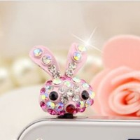 Earphone Jack Accessory 1pcs Of Small Miffy Pink Rabbit Crystal Pearls / Dust Plug / Ear Jack For F