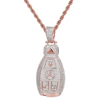 14k Rose Gold Finish Luxury Car logo Iced Out Key Pendant
