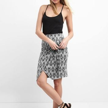 Softspun wrap-knot print skirt | Gap