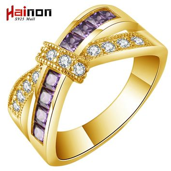 gold-color cross ring for lady paved cz zircon luxury hot Princess women BOWTIE Engagement Ring purple pink jewelry dropshipping