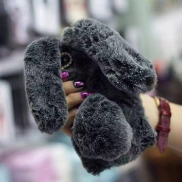For iPhone&Samsung Cute Rabbit Bunny Warm Soft Fluffy Plush Ball Case Cover