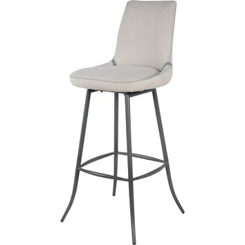 Alvin Swivel Bar Stool Vintage Gray Legs, Denim Beige (Set of 2)