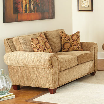 Steve Silver Batavia Loveseat w/2 Accent Pillows in Deep Gold Chenille