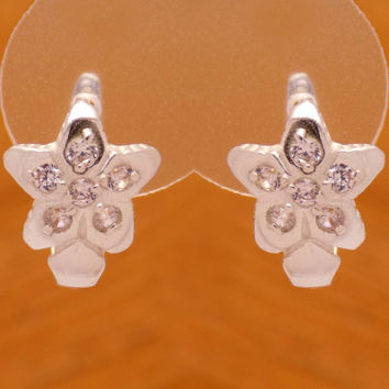 Beautiful Sterling Silver Cubic Zirconia Flower Star Earrings 925 Hallmark French Clip Charming Lovely Marvelous Design Handmade Handcrafted