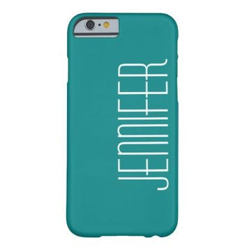 Modern, Chic, Turquoise, Personalized Jumbo Name Barely There iPhone 6 Case