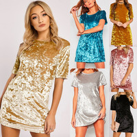 Fashion New Women Velvet Shirt Dress Celebrity Loose A-line O-neck Short Sleeve White Gold Velvet Ladies Casual Dress For Winter