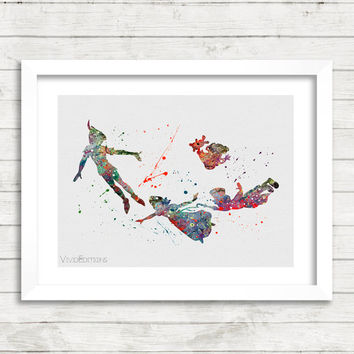 Peter Pan Disney Watercolor Art Poster Print, Baby Nursery Art, Kids Decor, Minimalist Home Decor, Not Framed, Buy 2 Get 1 Free! [No. 137]