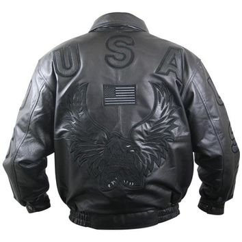 All Black Leather American USA Flag Eagle Bomber Jacket